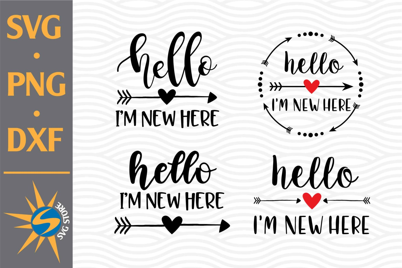 Hello I'm New Here SVG, PNG, DXF Digital Files Include - Hello Im New Here DB scaled -