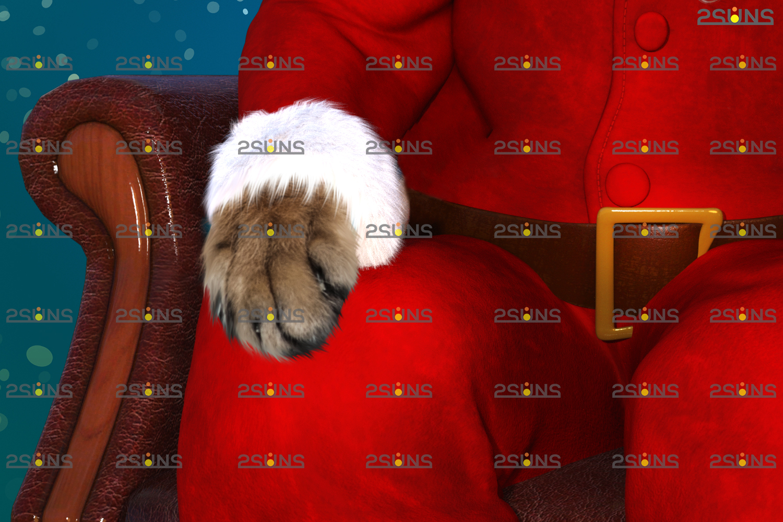 Santa Pet portrait template & Santa overlay, Christmas digital backdrop, Digital Pet - 005 24 -