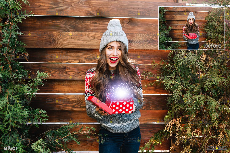 Christmas light overlay & Digital gold overlay: Photoshop overlay, Lamp light png files - 007 49 -