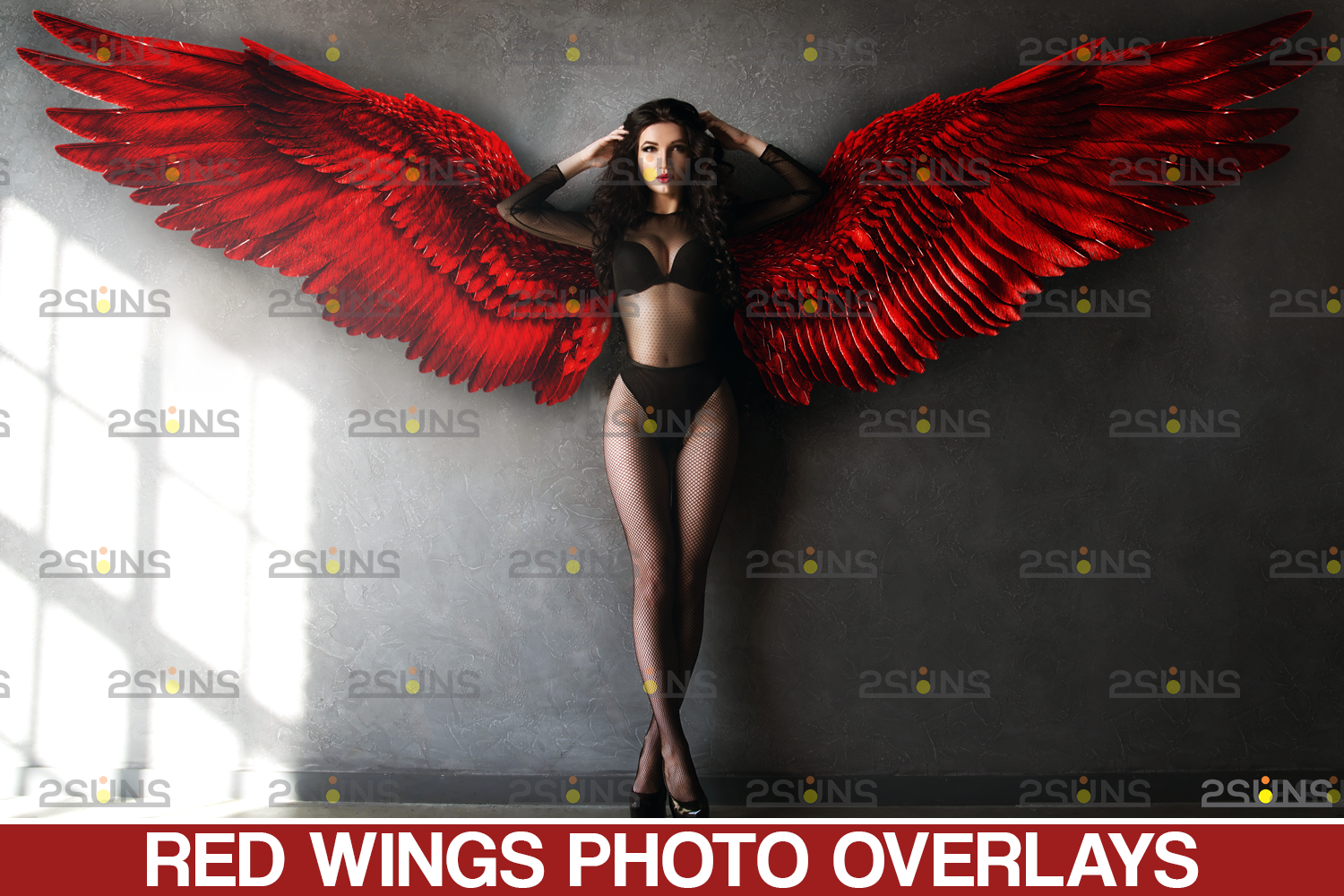 Red angel wings png & Photoshop overlay: Digital angel wings overlay, Digital backdrops wings, Fire - 001 64 -