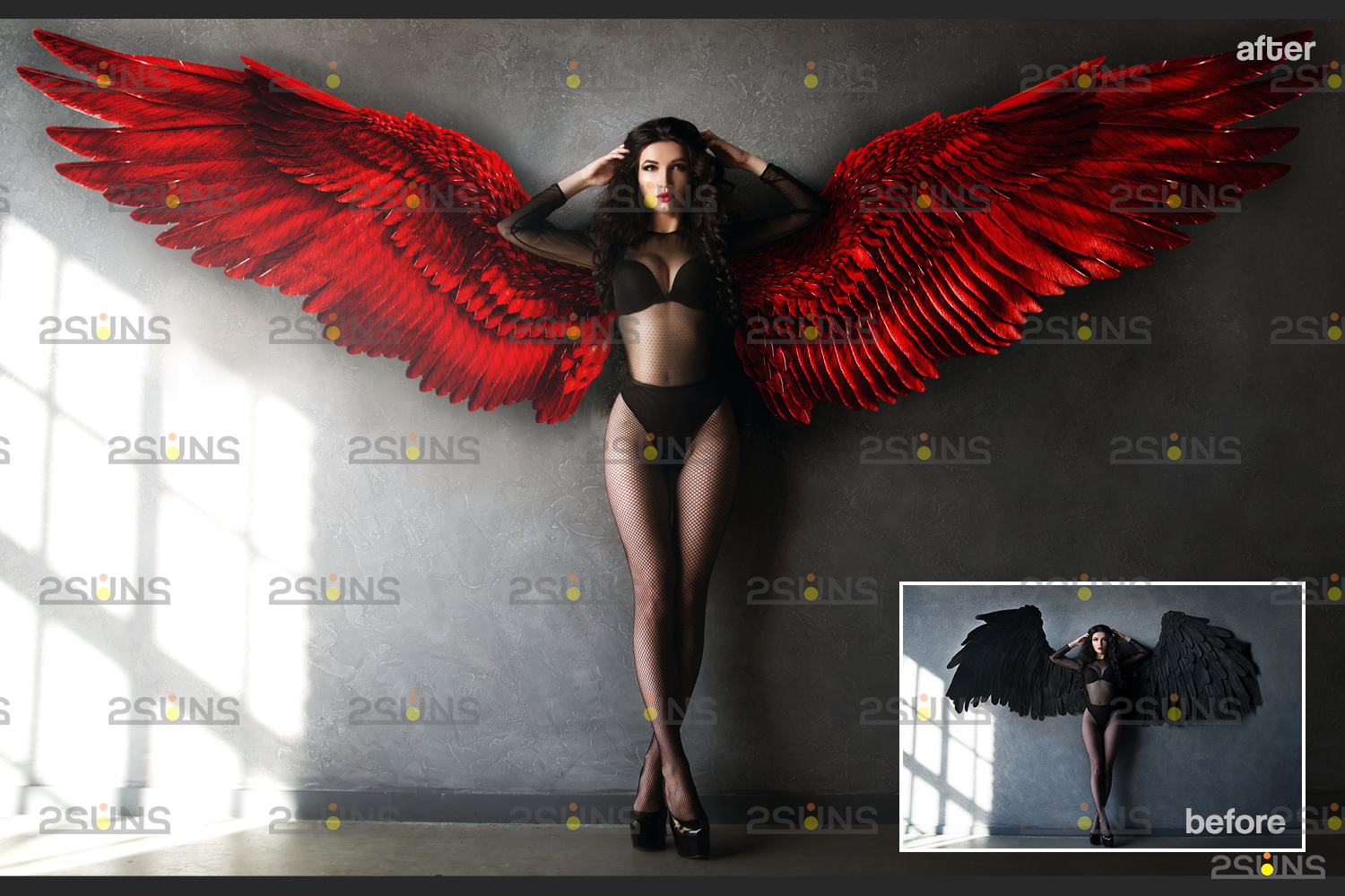 Red angel wings png & Photoshop overlay: Digital angel wings overlay, Digital backdrops wings, Fire - 002 66 -