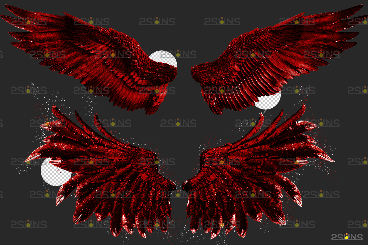 Red angel wings png & Photoshop overlay: Digital angel wings overlay, Digital backdrops wings, Fire - 003 70 -