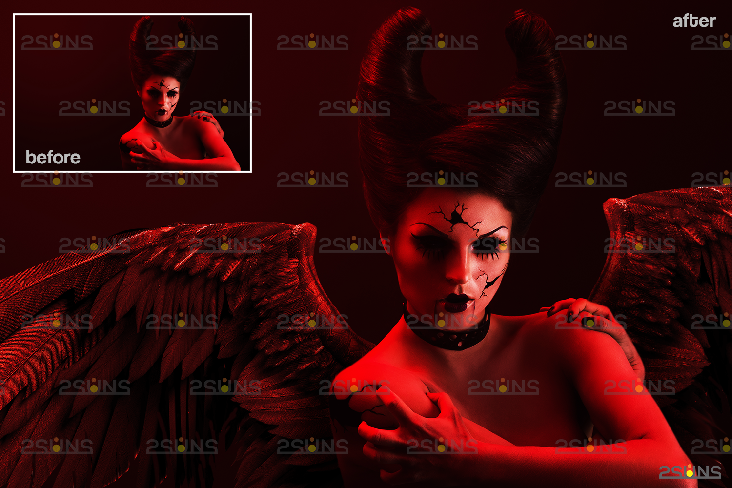 Red angel wings png & Photoshop overlay: Digital angel wings overlay, Digital backdrops wings, Fire - 008 56 -