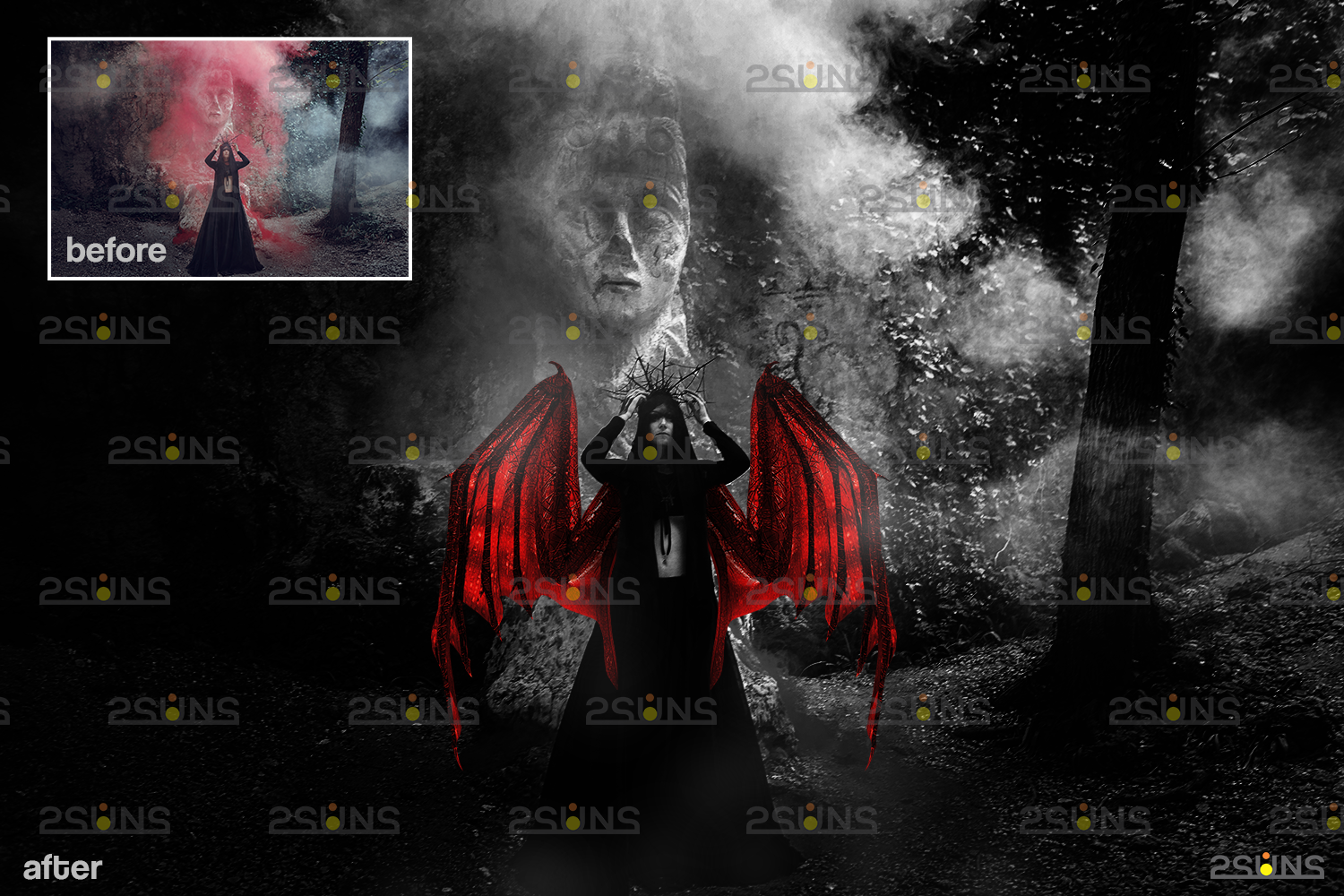 Red angel wings png & Photoshop overlay: Digital angel wings overlay, Digital backdrops wings, Fire - 009 49 -