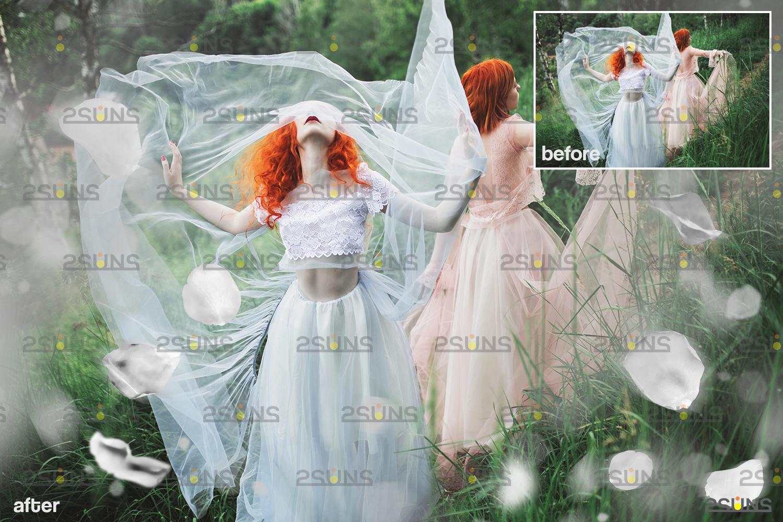 Flower overlay & Photoshop overlay: Floral digital backdrop, Flower overlay, Falling white petal png - 003 71 -