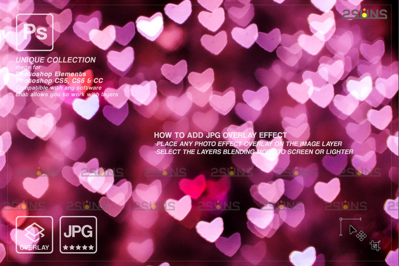 Valentine overlay & Photoshop overlay: Bokeh heart backdrop.Valentine digital backdrop,Heart - 002 83 -