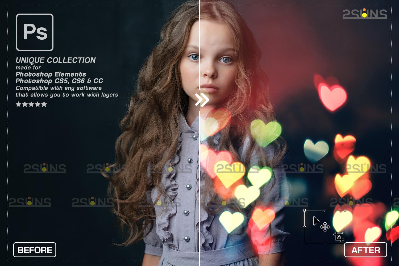 Valentine overlay & Photoshop overlay: Bokeh heart backdrop.Valentine digital backdrop,Heart - 004 80 -