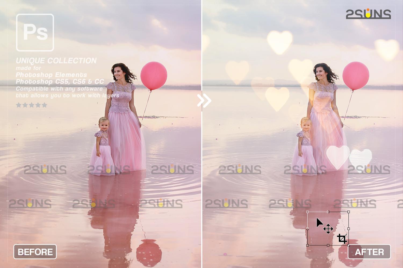 Valentine overlay & Photoshop overlay: Bokeh heart backdrop.Valentine digital backdrop,Heart - 005 79 -