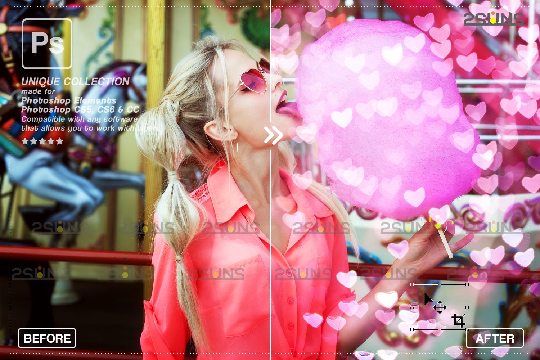 Valentine overlay & Photoshop overlay: Bokeh heart backdrop.Valentine digital backdrop,Heart - 006 76 -