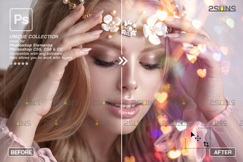 Valentine overlay & Photoshop overlay: Bokeh heart backdrop.Valentine digital backdrop,Heart - 009 64 -