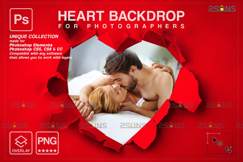 Torn Paper Overlay & Photoshop overlay. Valentine digital backdrop, Heart backdrop,Valentine overlay - 009 65 -