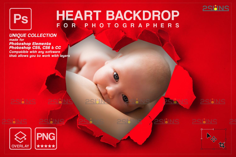Torn Paper Overlay & Photoshop overlay. Valentine digital backdrop, Heart backdrop,Valentine overlay - 001 82 -