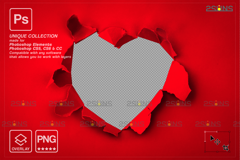 Torn Paper Overlay & Photoshop overlay. Valentine digital backdrop, Heart backdrop,Valentine overlay - 002 84 -