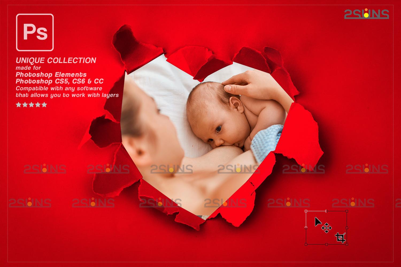 Torn Paper Overlay & Photoshop overlay. Valentine digital backdrop, Heart backdrop,Valentine overlay - 003 88 -