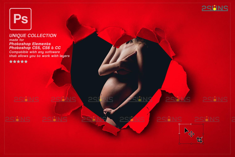 Torn Paper Overlay & Photoshop overlay. Valentine digital backdrop, Heart backdrop,Valentine overlay - 004 81 -