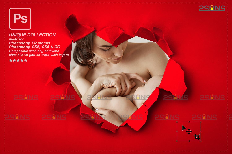 Torn Paper Overlay & Photoshop overlay. Valentine digital backdrop, Heart backdrop,Valentine overlay - 005 80 -