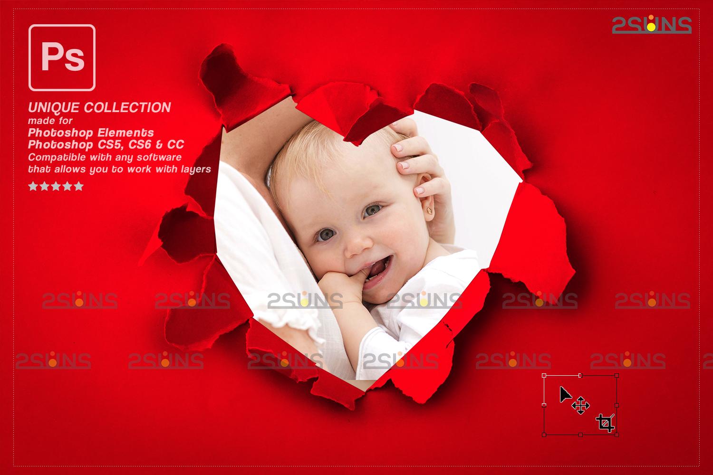 Torn Paper Overlay & Photoshop overlay. Valentine digital backdrop, Heart backdrop,Valentine overlay - 006 77 -