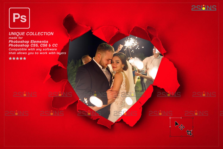 Torn Paper Overlay & Photoshop overlay. Valentine digital backdrop, Heart backdrop,Valentine overlay - 007 76 -