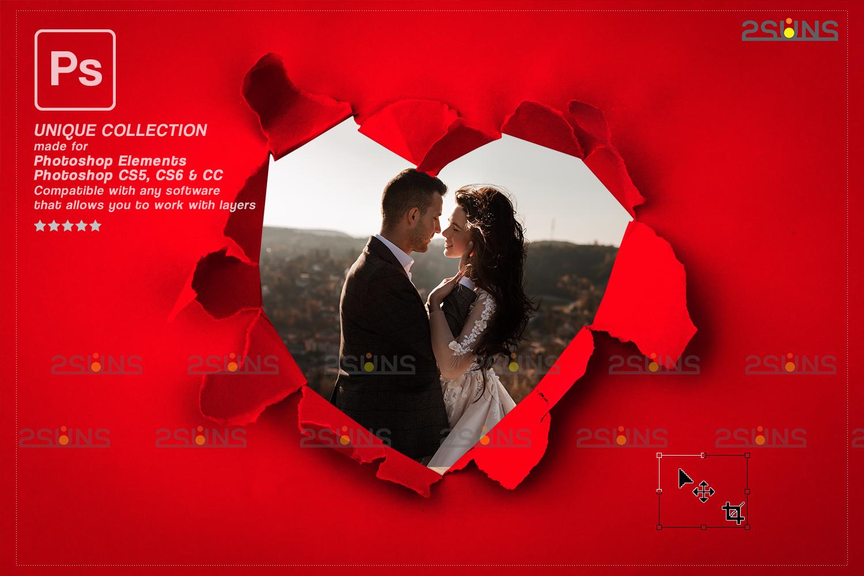 Torn Paper Overlay & Photoshop overlay. Valentine digital backdrop, Heart backdrop,Valentine overlay - 008 73 -