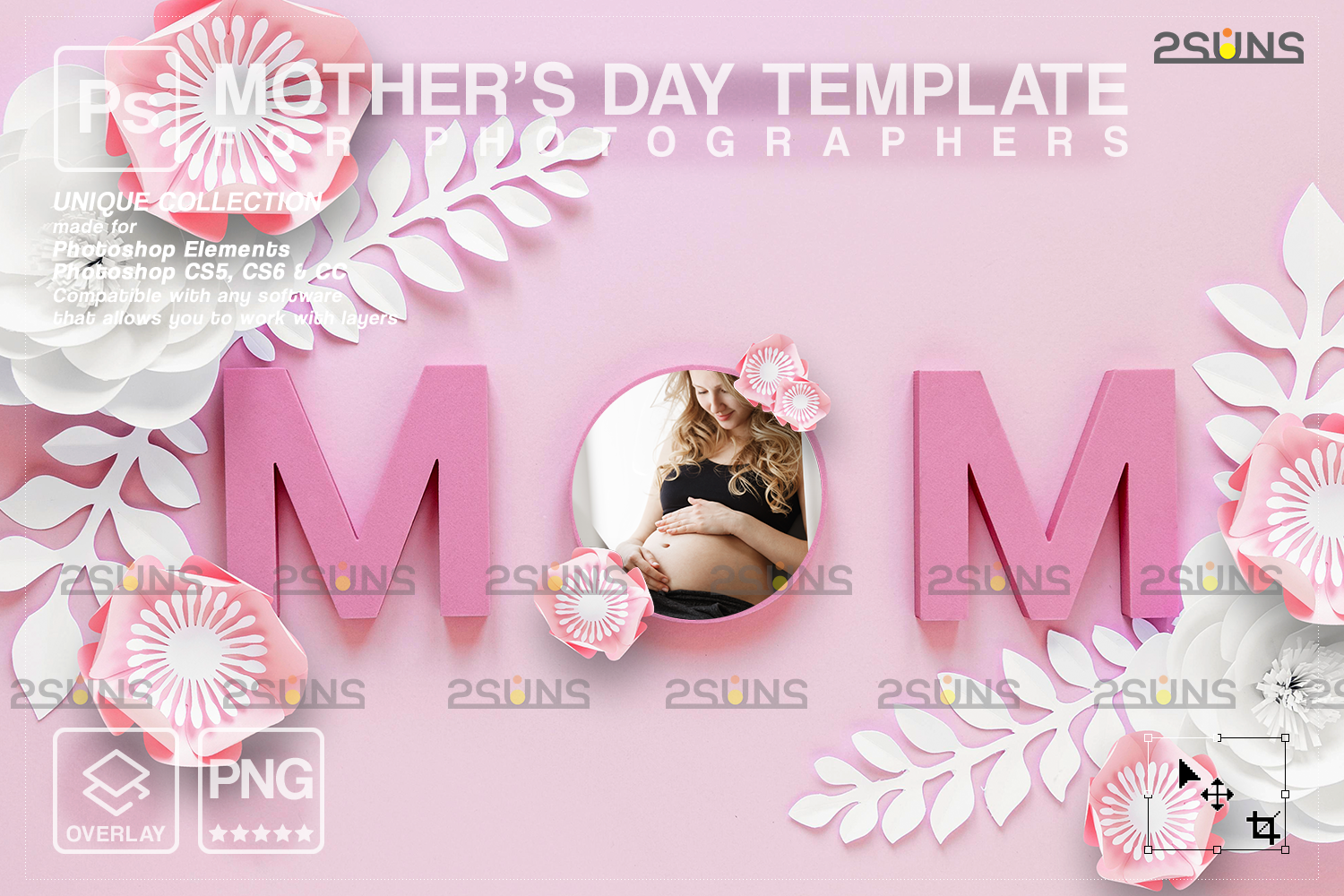 Mothers day cards template & Mothers day overlay: Backdrop flower watercolor frames, Mothers day - 002 103 -