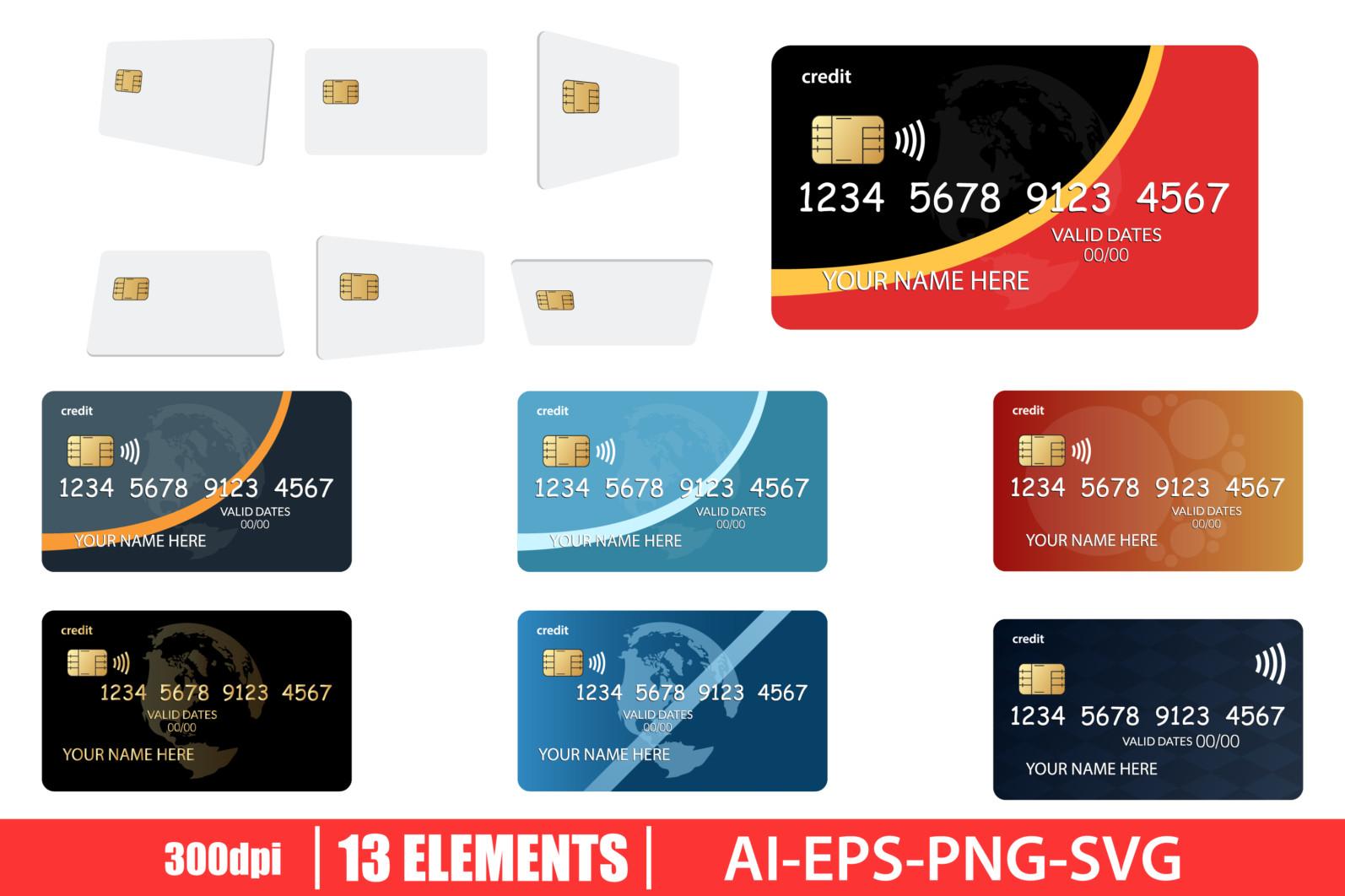 Credit card clipart vector design illustration. Credit card set. Vector Clipart Print - CREDIT CARD scaled -