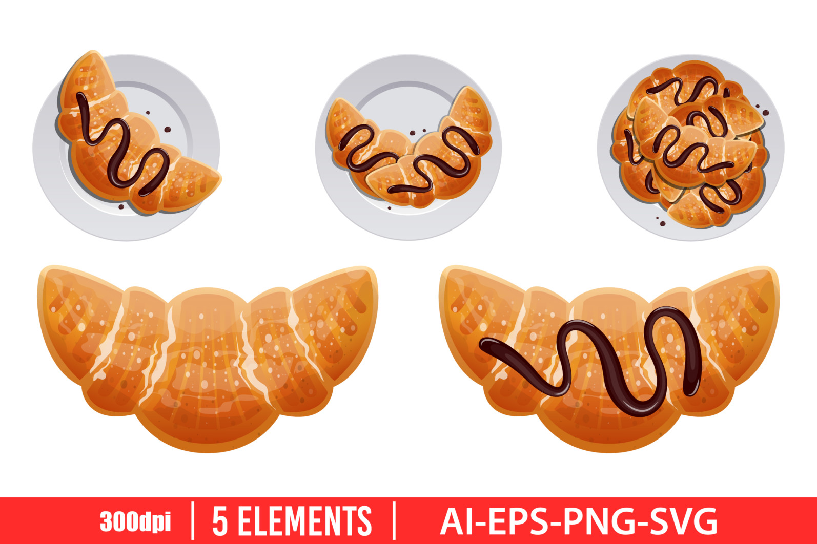 Traditional french croissant clipart vector design illustration. Vector Clipart Print - CROISSANT scaled -