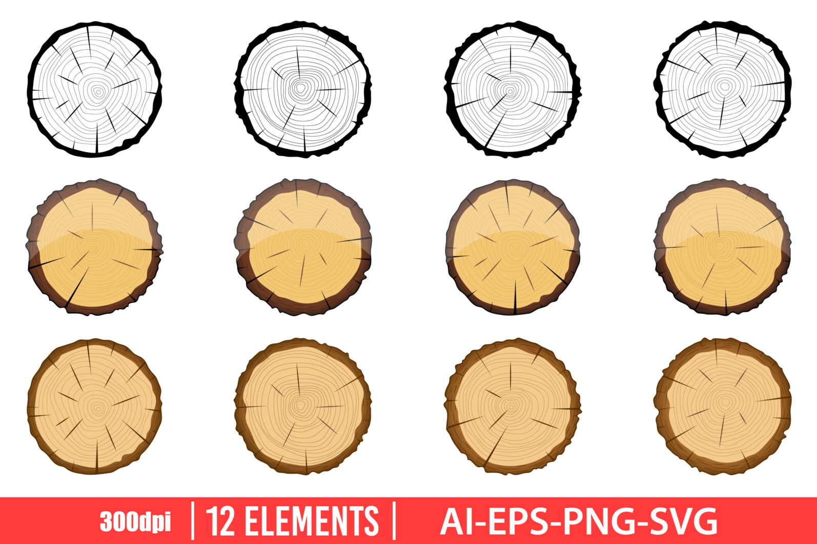 Cross section of wooden tree clipart design illustration. Vector Clipart Print - CROSS SECTION OF TREE scaled -
