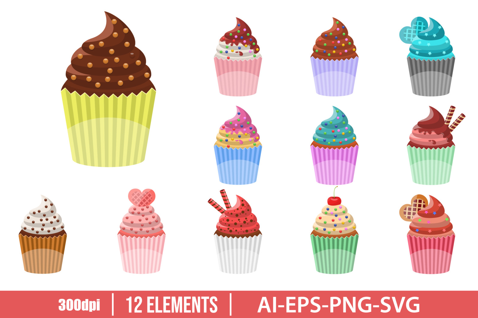 Delicious cupcake clipart vector design illustration. Vector Clipart Print - CUPCAKE scaled -