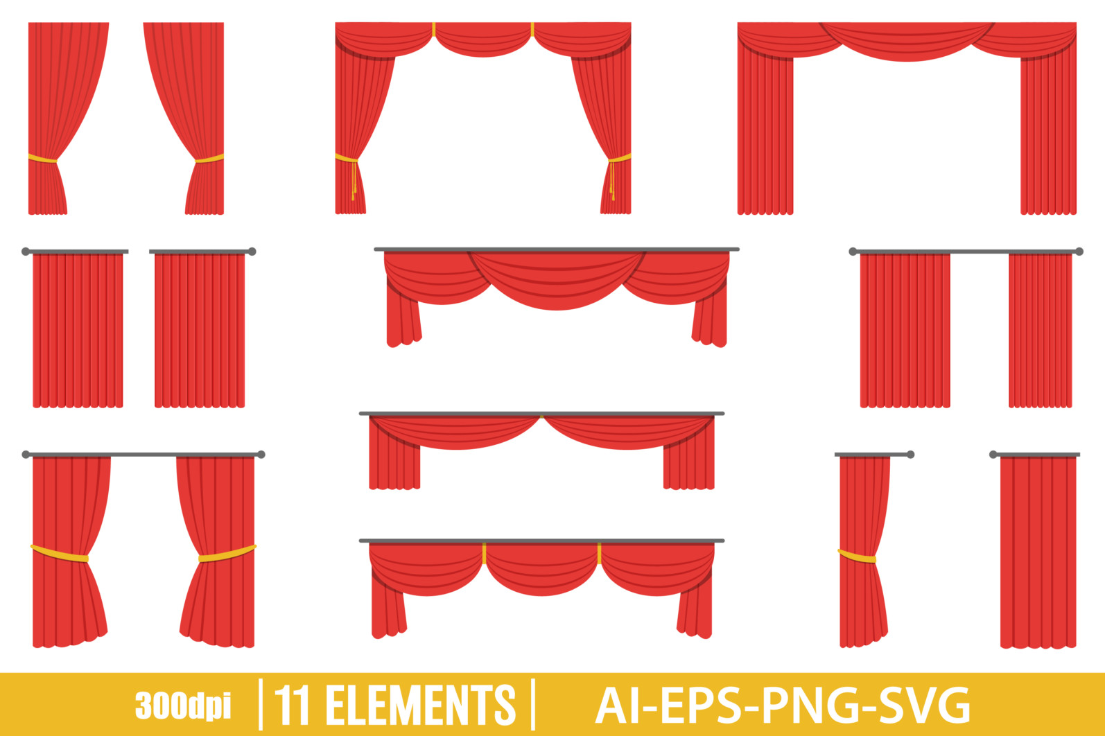 Theater curtain clipart vector design illustration. Theater curtain set. Vector Clipart Print - CURTAIN scaled -