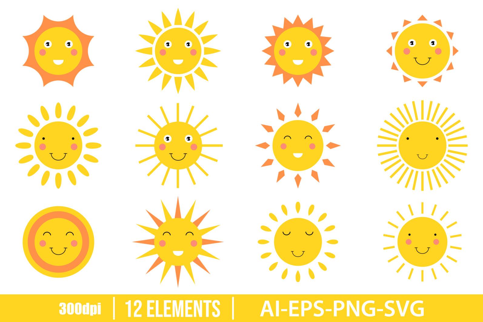Smiling sun cartoon clipart vector design illustration. Vector Clipart Print - CUTE HAPPY SUN scaled -
