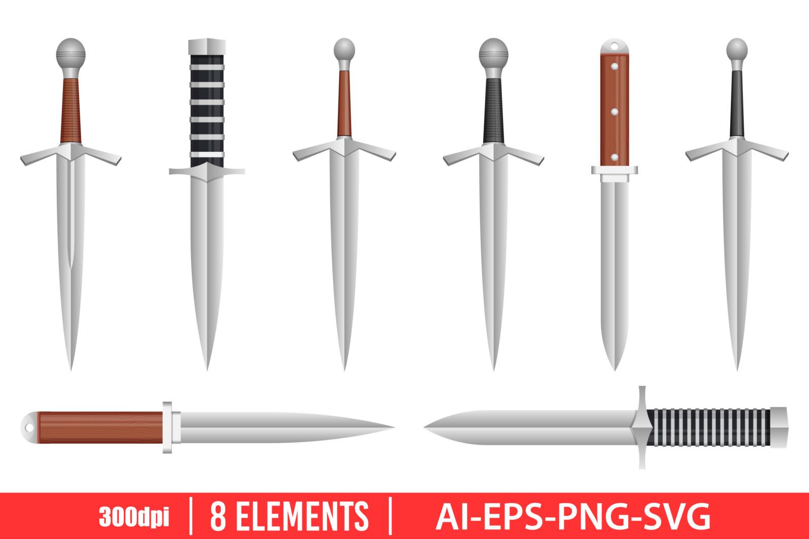 Realistic dagger clipart vector design illustration. Dagger set. Vector Clipart Print - DAGGER KNIFE scaled -