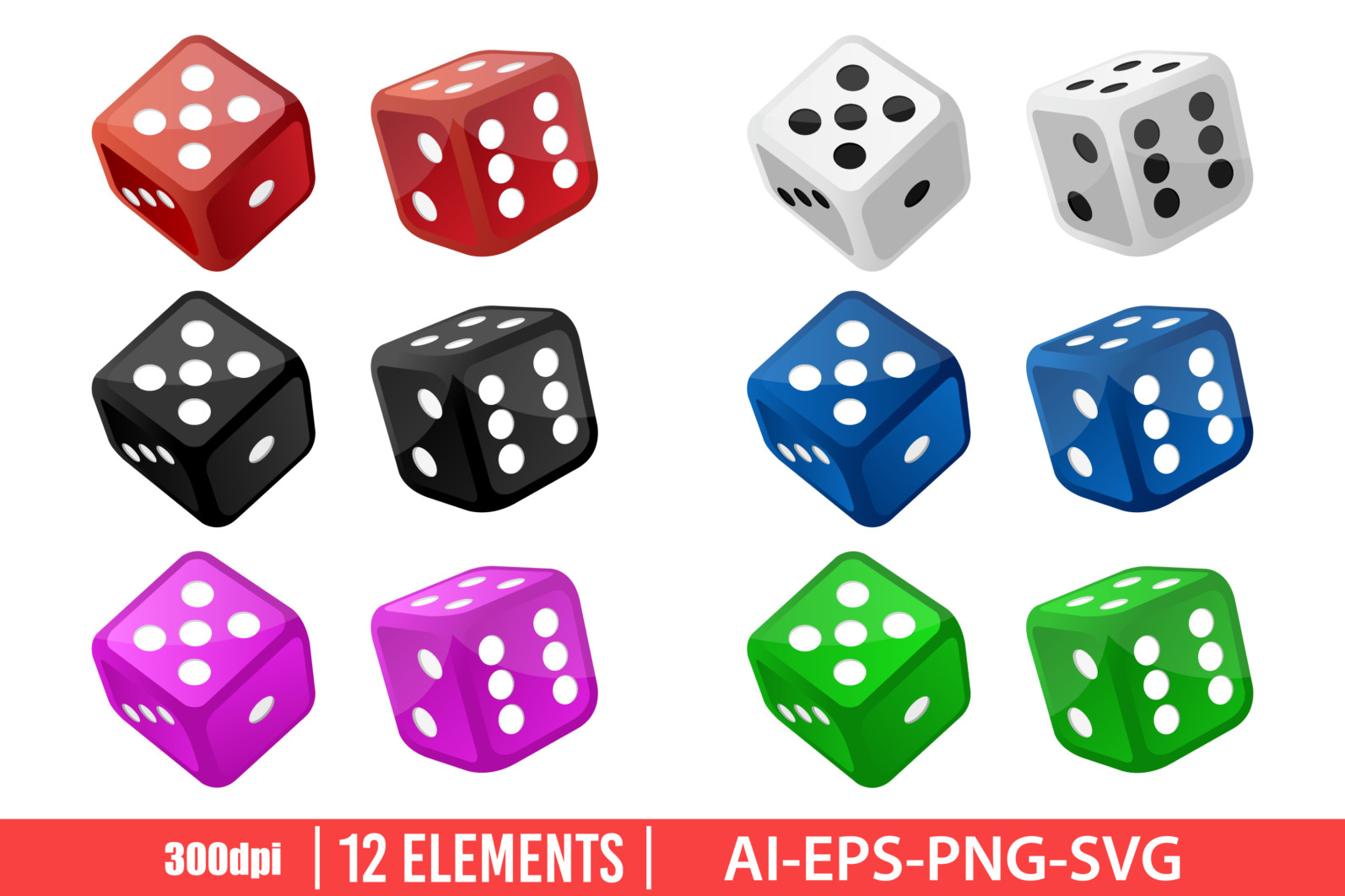 Casino dice clipart vector design illustration. Dice set. Vector Clipart Print - DICE scaled -