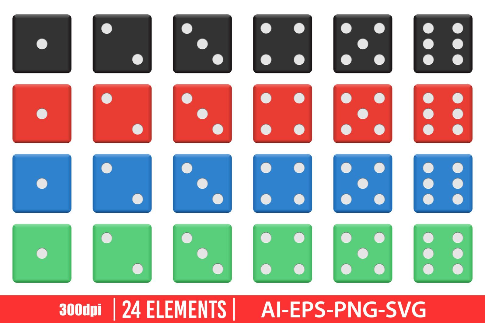 Casino dice clipart vector design illustration. Dice set. Vector Clipart Print - DICE1 scaled -