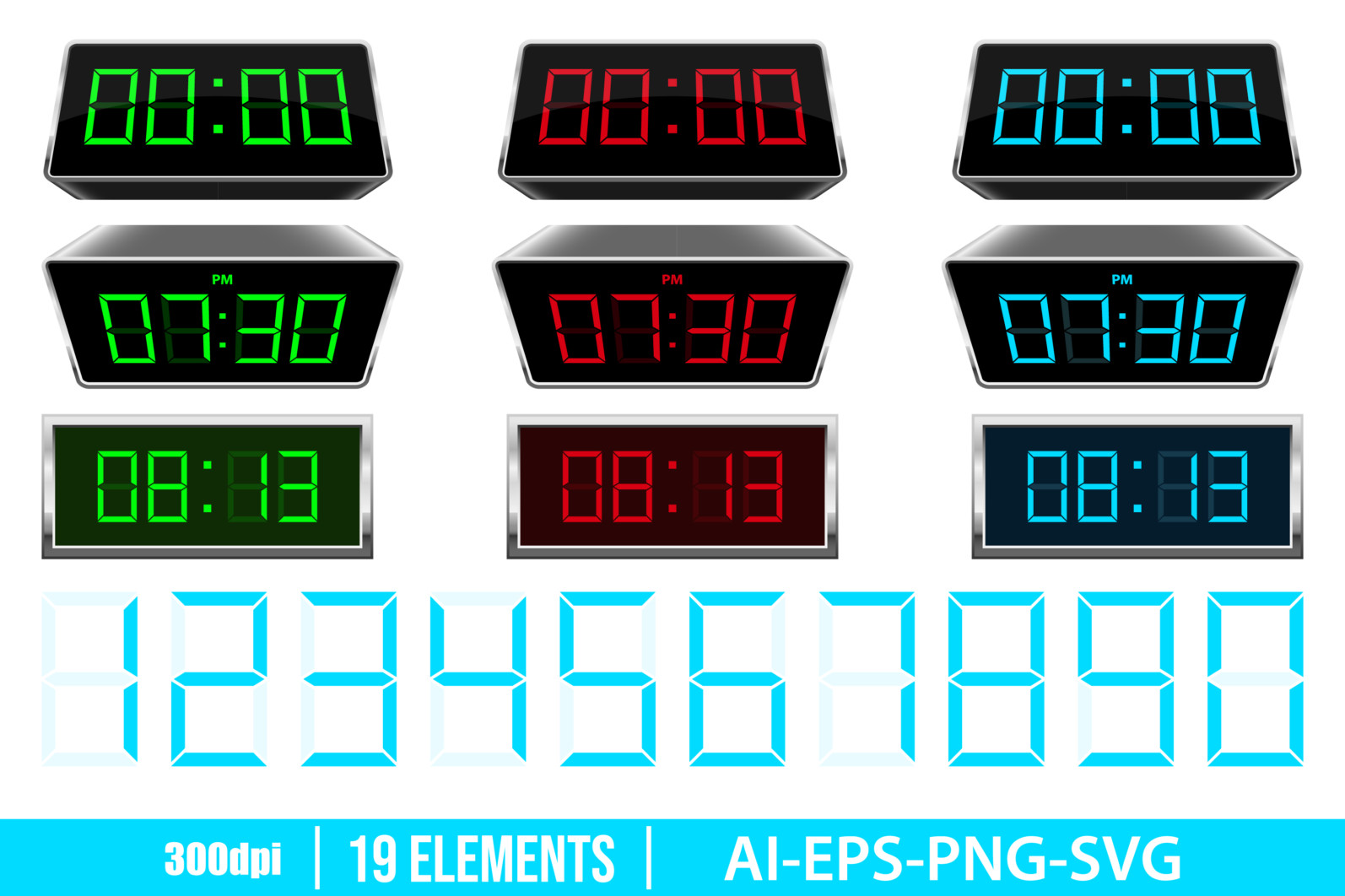 Digital clock clipart vector design illustration. Digital clock set. Vector Clipart Print - DIGITAL CLOCK scaled -