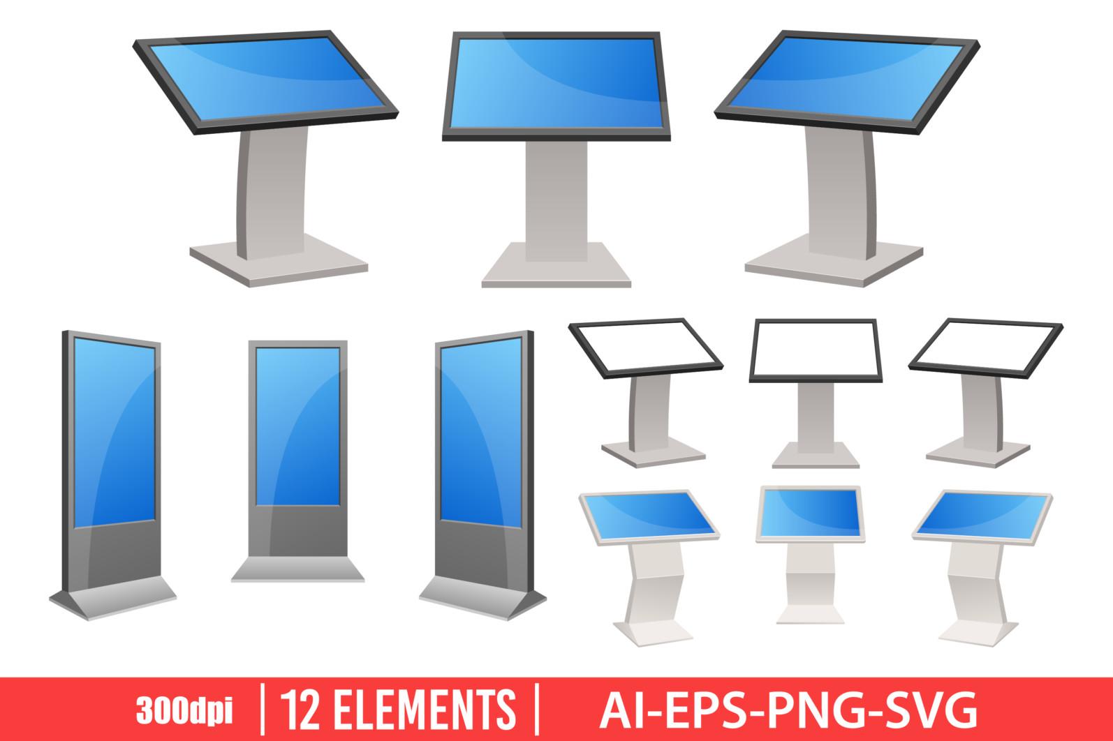 Digital kiosk clipart vector design illustration. Digital kiosk set. Vector Clipart Print - DIGITAL KIOSK scaled -