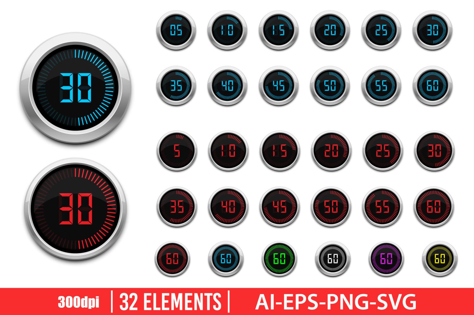 Digital timer clipart vector design illustration. Digital timer set. Vector Clipart Print - DIGITAL TIMER scaled -
