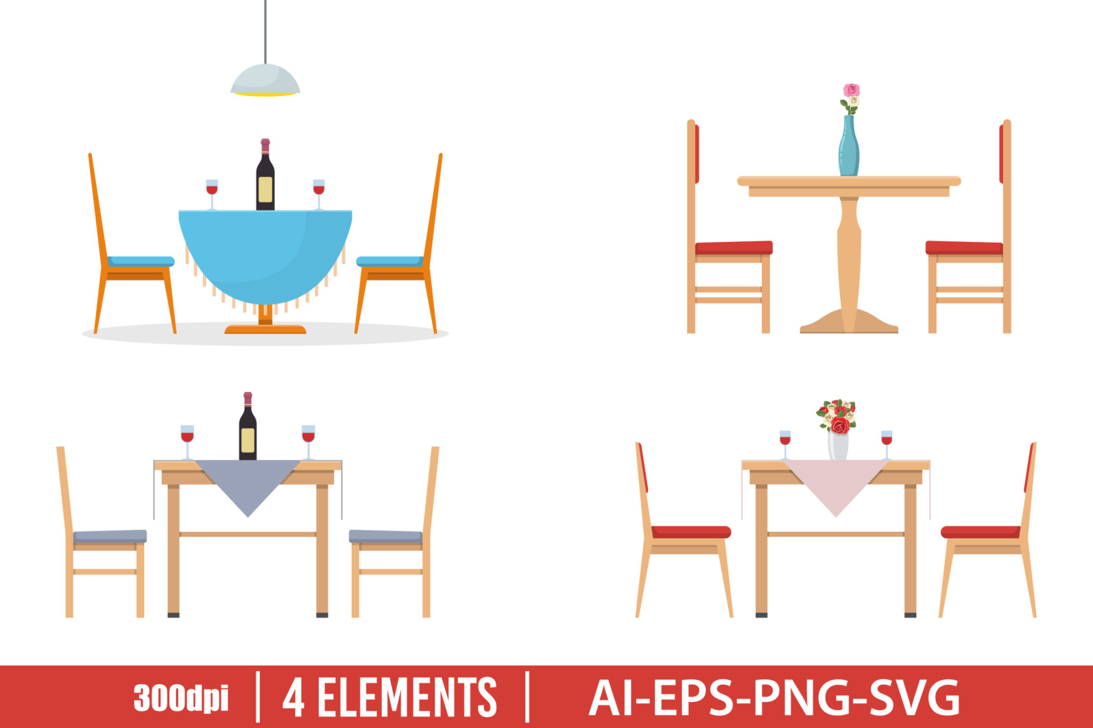 Dining table clipart vector design illustration. Dining table set. Vector Clipart Print - DINING TABLE scaled -
