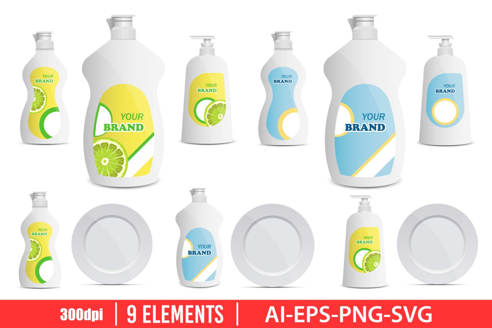 Diswashing liquid bottle clipart vector design illustration. Vector Clipart Print - DISHWASH LIQUID scaled -