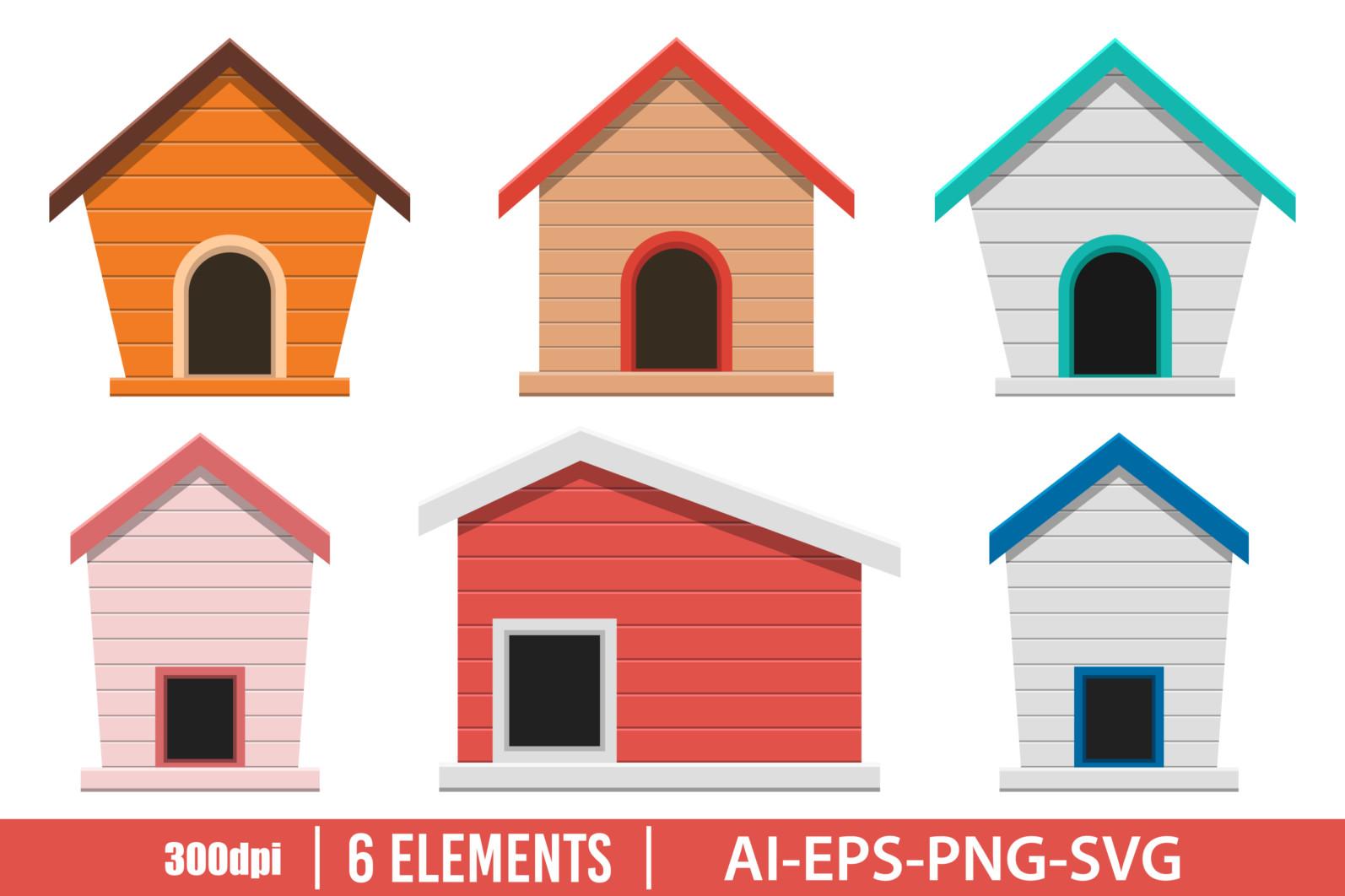 Dog house clipart vector design illustration. Dog house set. Vector Clipart Print - DOG HOUSE 1 scaled -