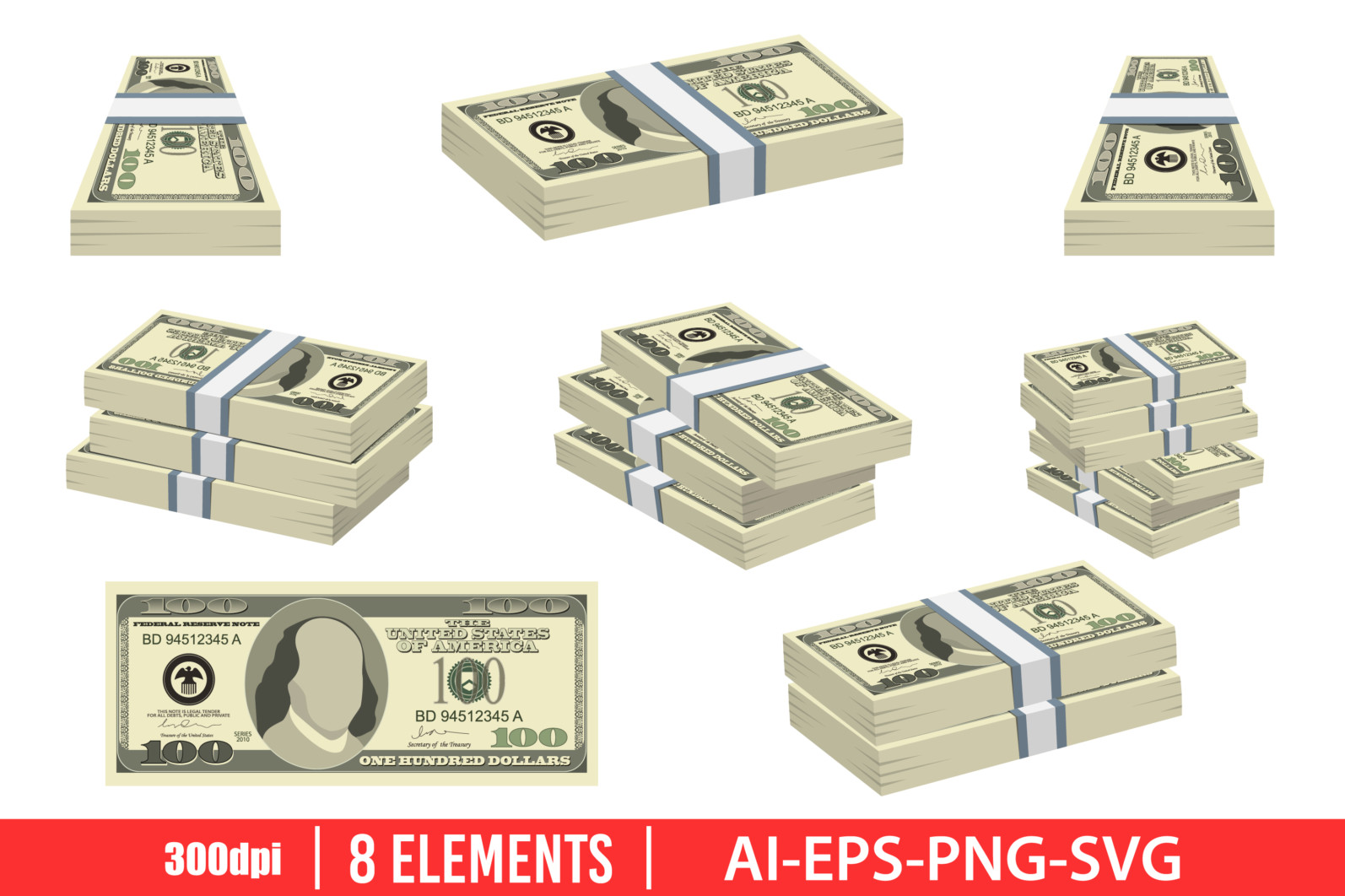 Pack of dollars money clipart vector design illustration. Dollar set. Vector Clipart Print - DOLLAR scaled -