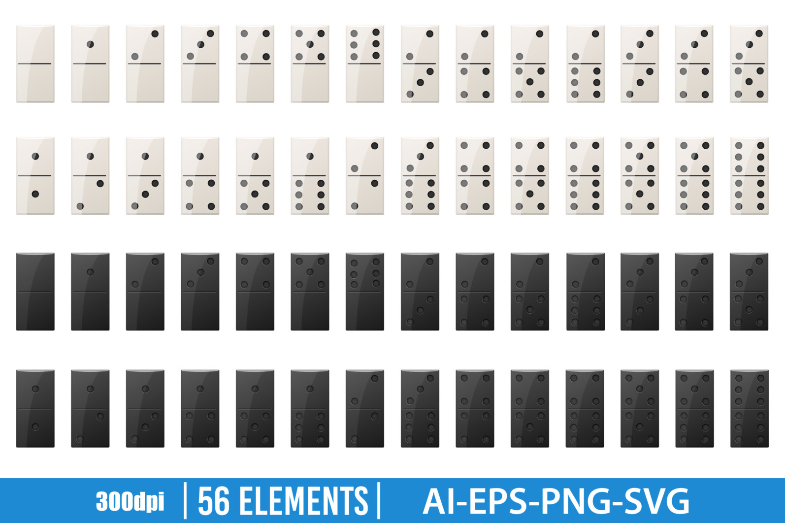 Domino pieces clipart vector design illustration. Domino pieces set. Vector Clipart Print - DOMINO PIECES scaled -