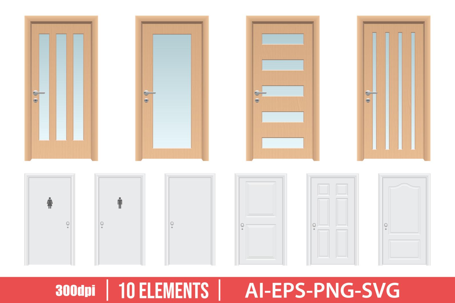 Realistic wooden door clipart vector design illustration. Door set. Vector Clipart Print - DOOR 1 scaled -