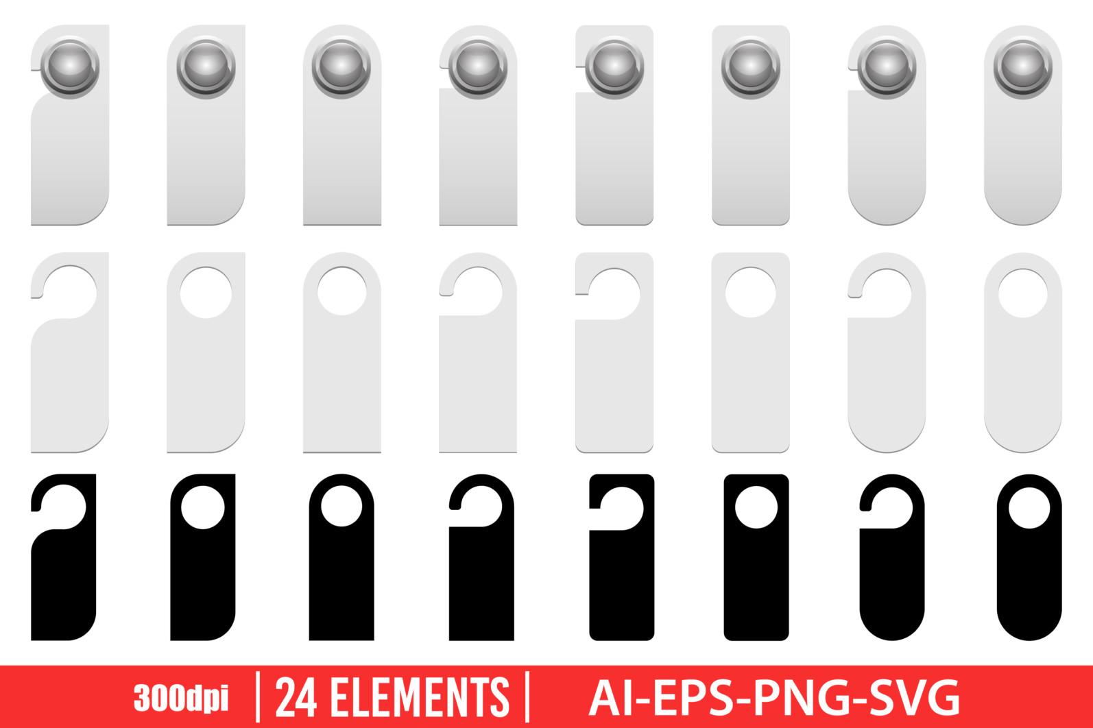 Door hanger clipart vector design illustration. Door hanger set. Vector Clipart Print - DOOR HANGER scaled -