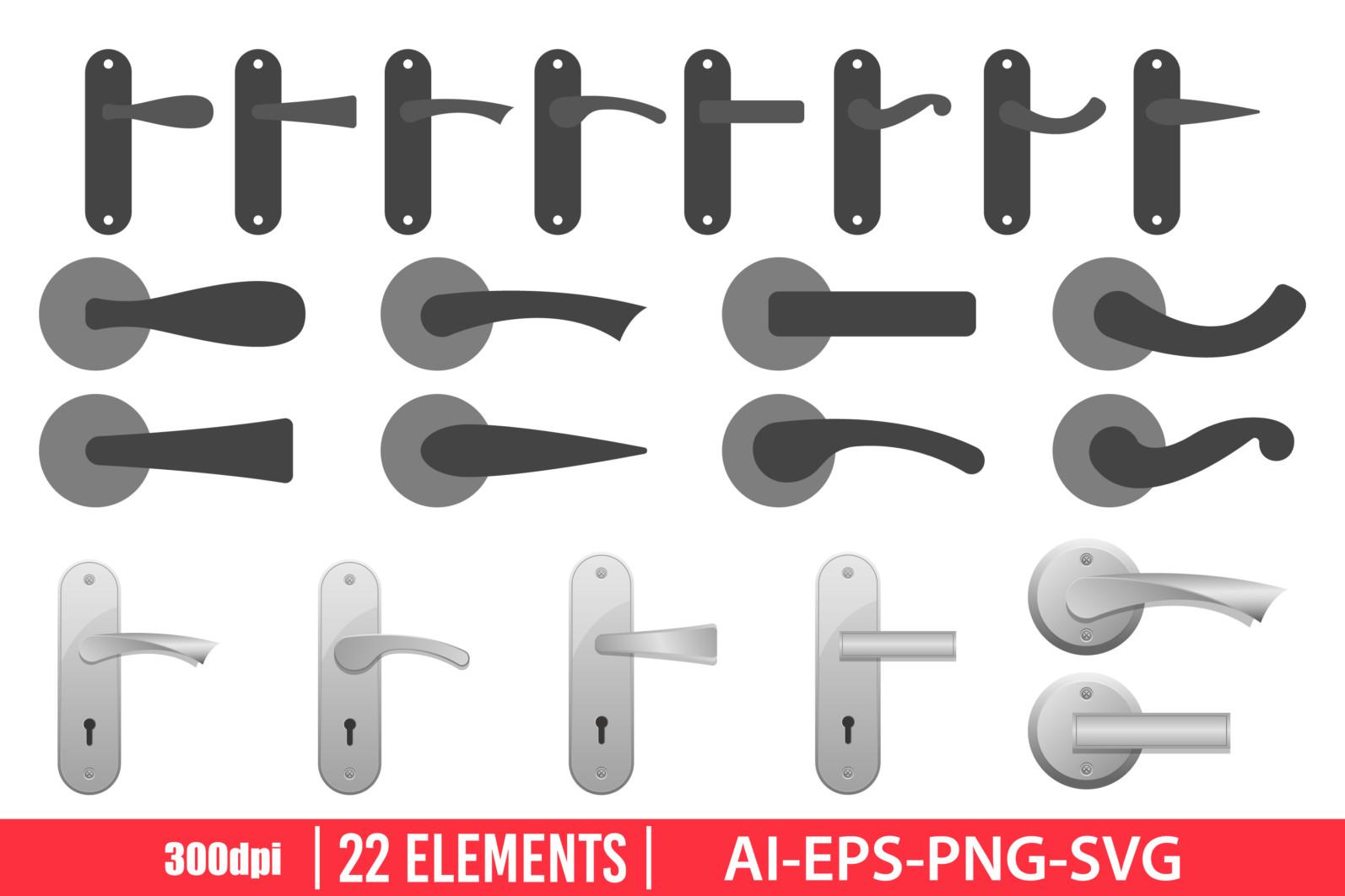 Door handles clipart vector design illustration. Door knob set. Vector Clipart Print - DOOR KNOB scaled -
