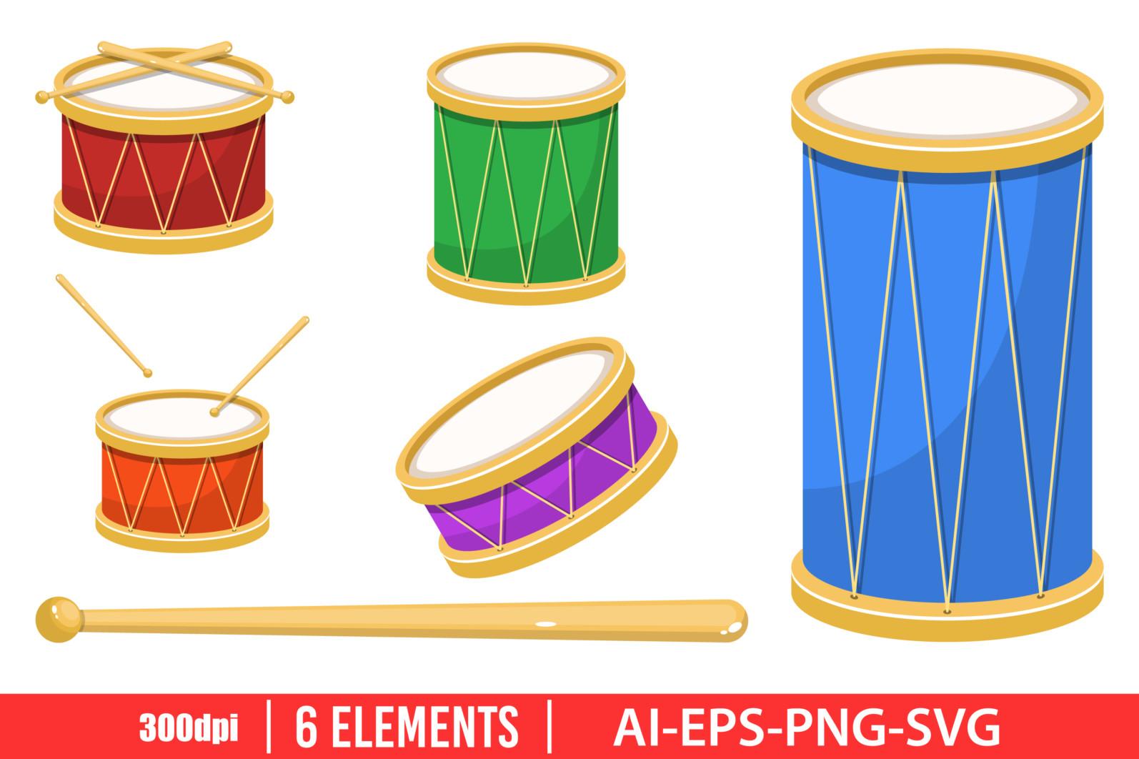 Drum clipart vector design illustration. Drum set. Vector Clipart Print - DRUM scaled -