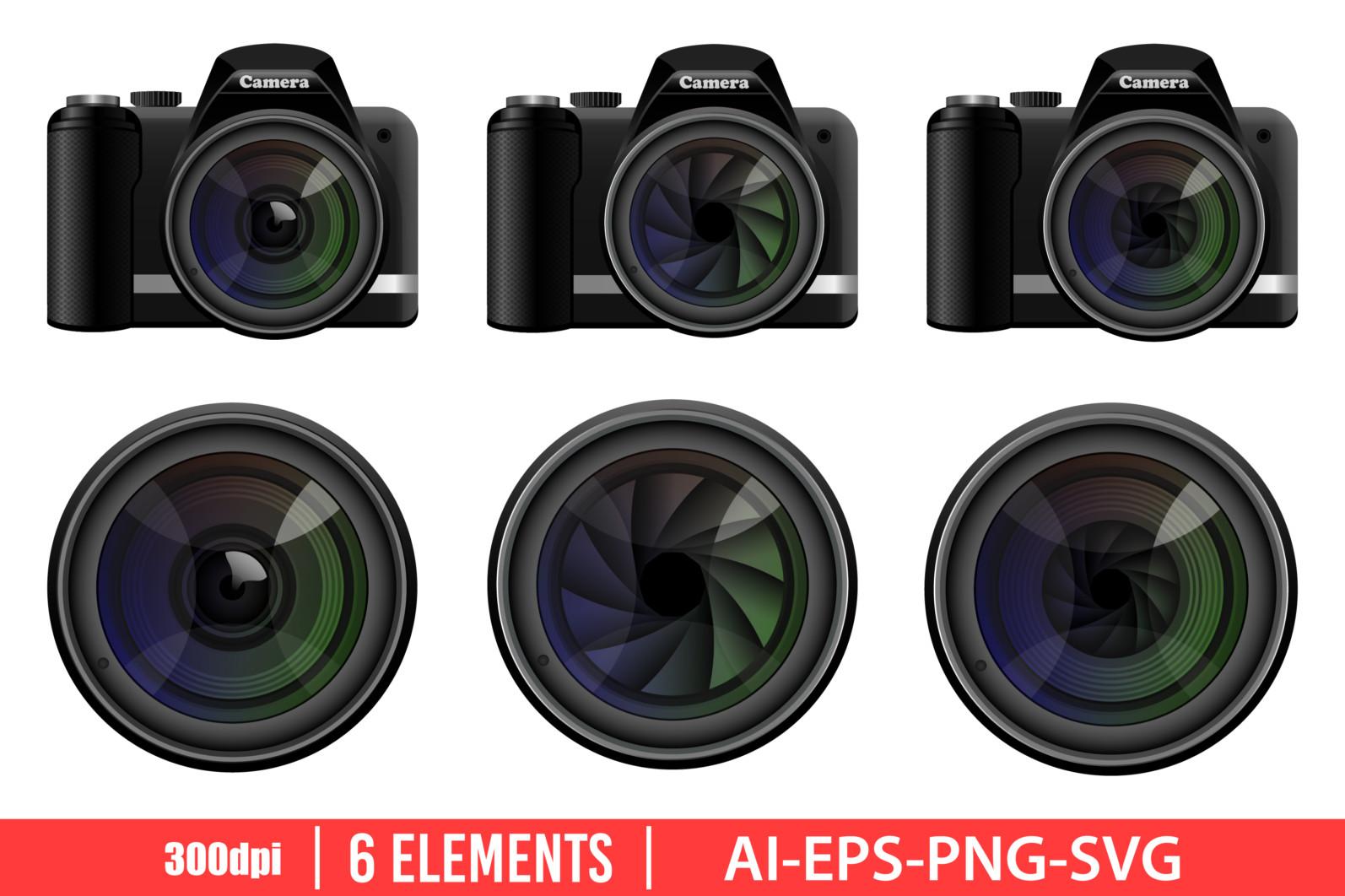 Dslr photo camera clipart vector design illustration. Dslr camera set. Vector Clipart Print - DSLR CAMERA scaled -