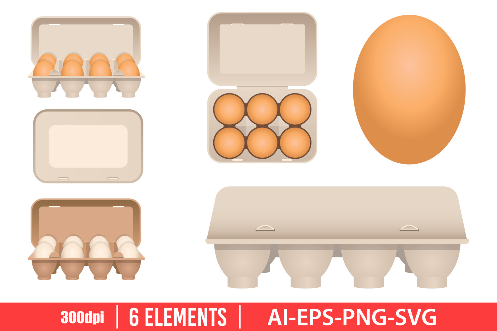 Chicken eggs in carton clipart vector design illustration. Eggs set. Vector Clipart Print - EGG PACKAGE scaled -