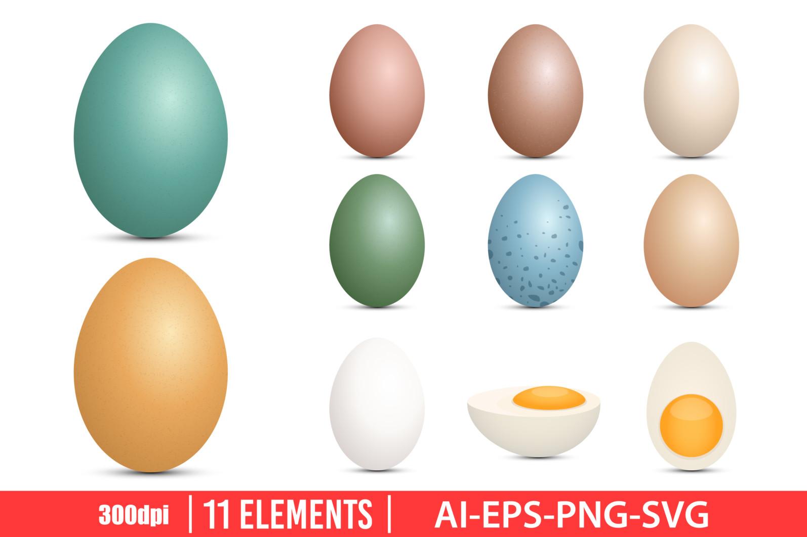 Eggs clipart vector design illustration. Eggs set. Vector Clipart Print - EGGS scaled -