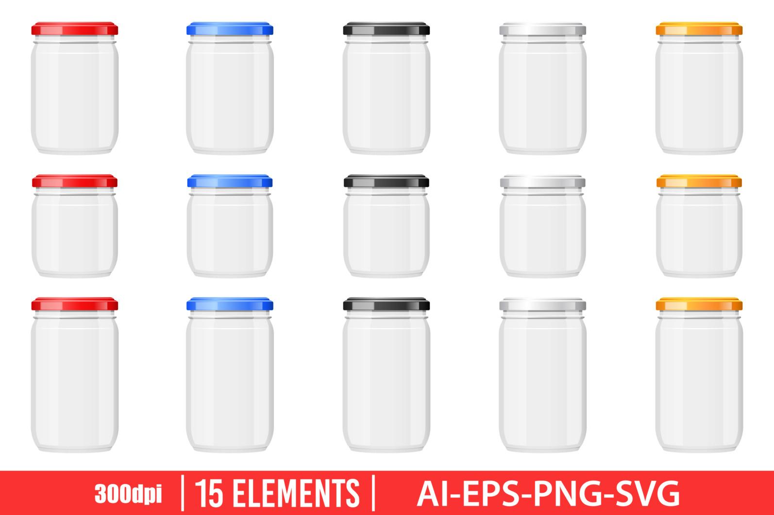 Empty glass jar clipart vector design illustration. Empty glass jar set. Vector Clipart Print - EMPTY GLASS JAR scaled -