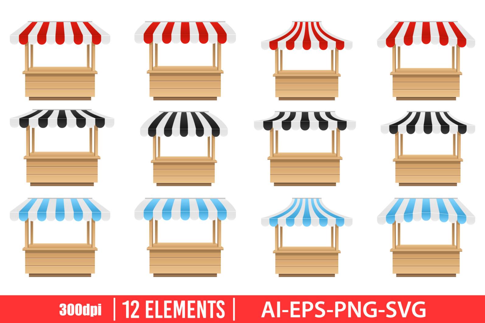 Empty market stall clipart vector design illustration. Empty market stall set. Vector Clipart Print - EMPTY MARKET scaled -
